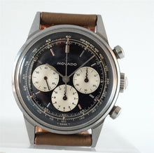 Load image into Gallery viewer, Movado Chronograph Sub Sea Silver Gilt Black Dial