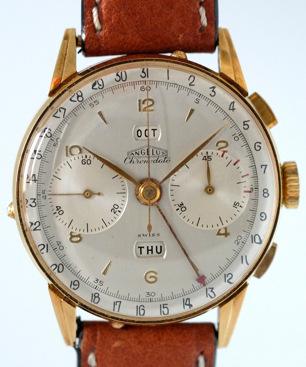 Angelus Chronodato Triple Date Chronograph in Gold