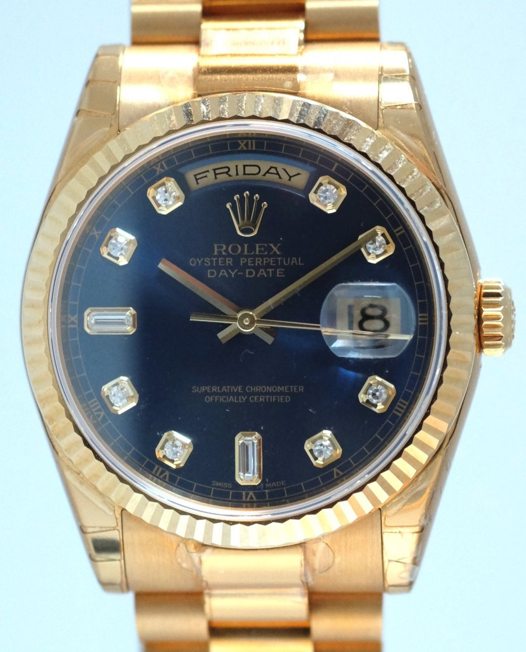 Rolex Day Date Yellow Gold with Blue Dial New Old Stock