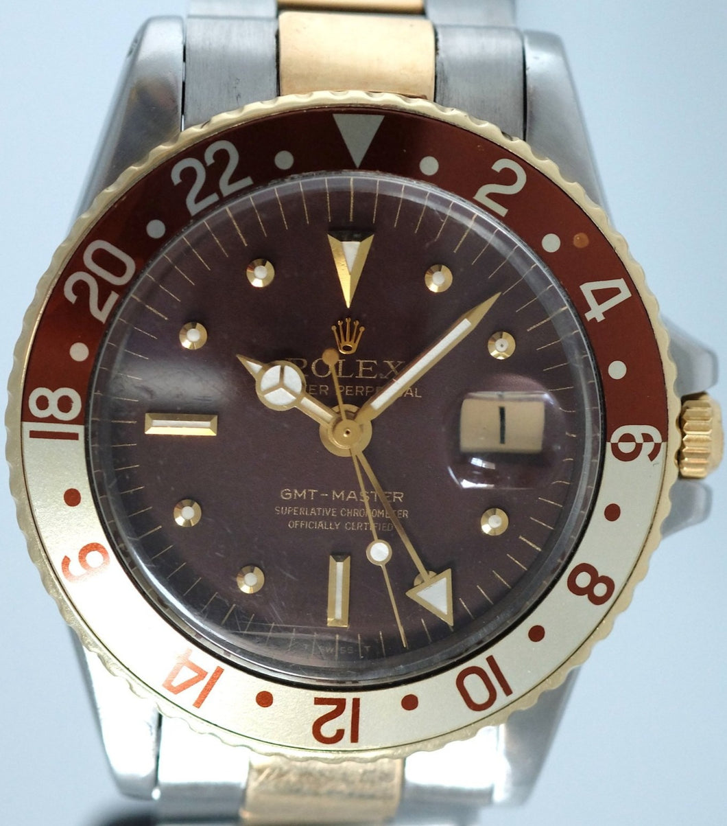 Rolex GMT 1675 Stainless Steel & Gold Root Beer Dial
