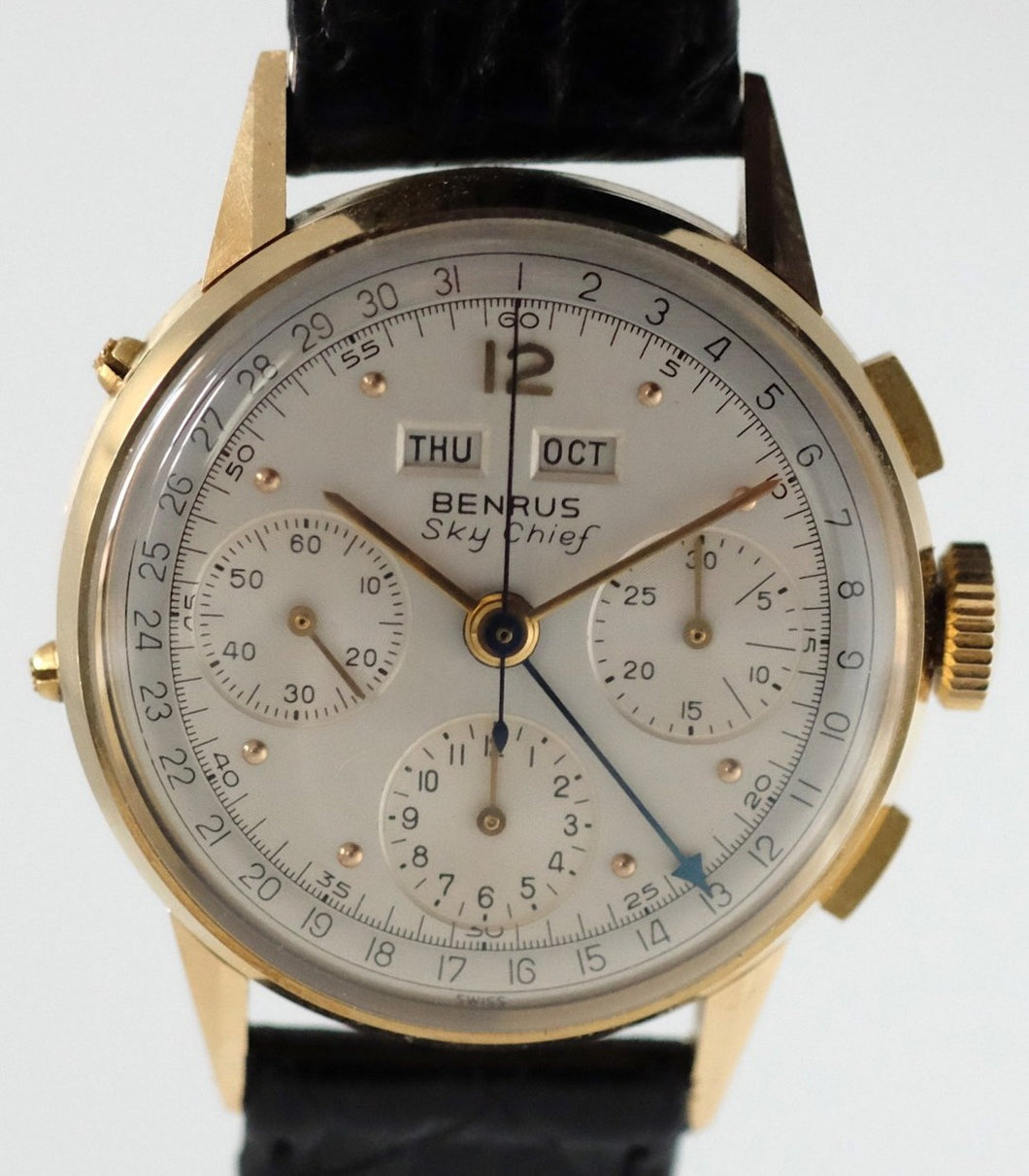 Benrus Sky Chief 14k Gold Triple Date Chronograph