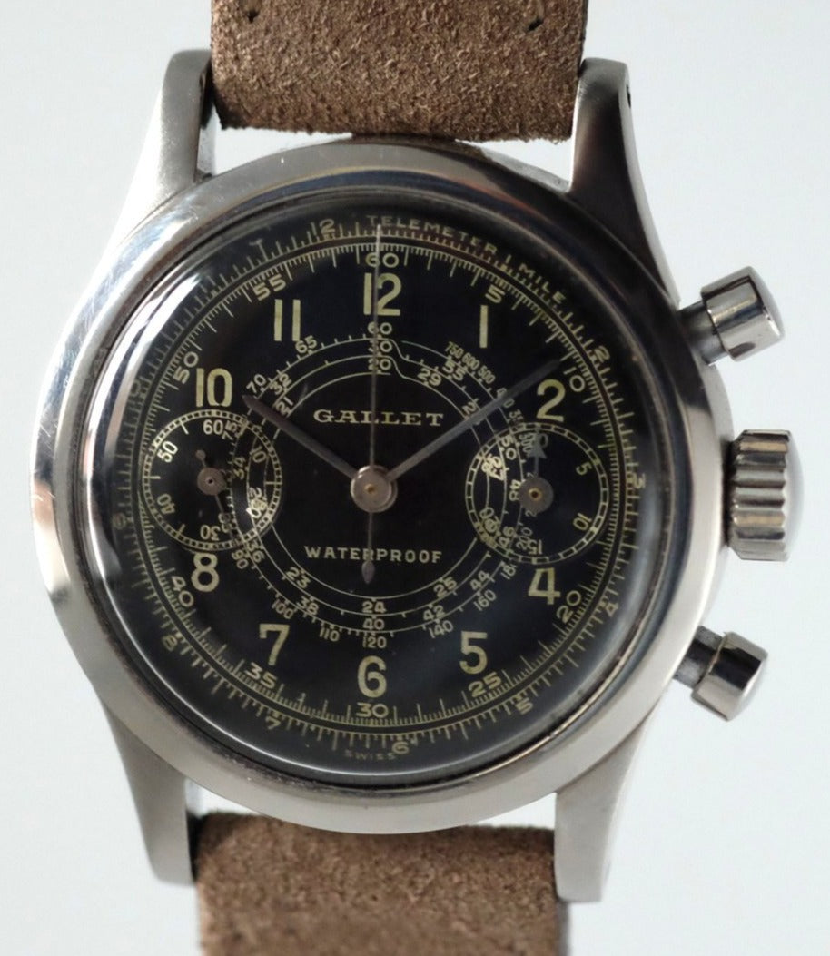 Gallet MultiChron 30mm Clamshell Chronograph with Gilt Dial