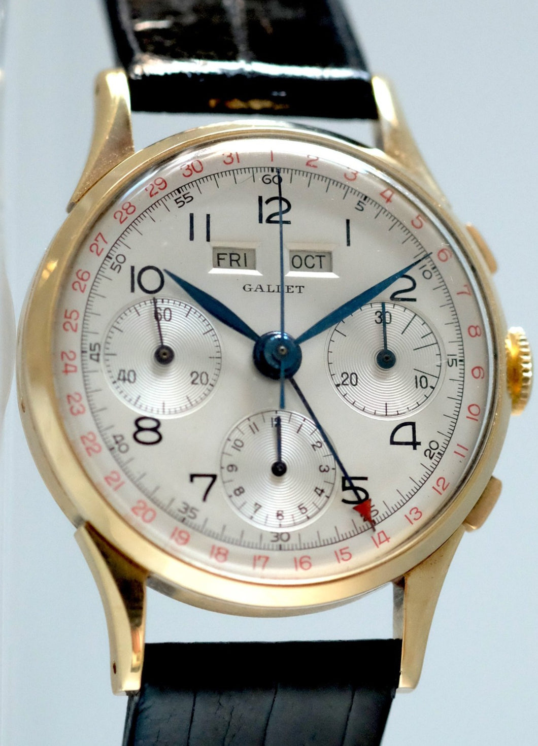 Gallet Triple-Date Chronograph in Yellow Gold