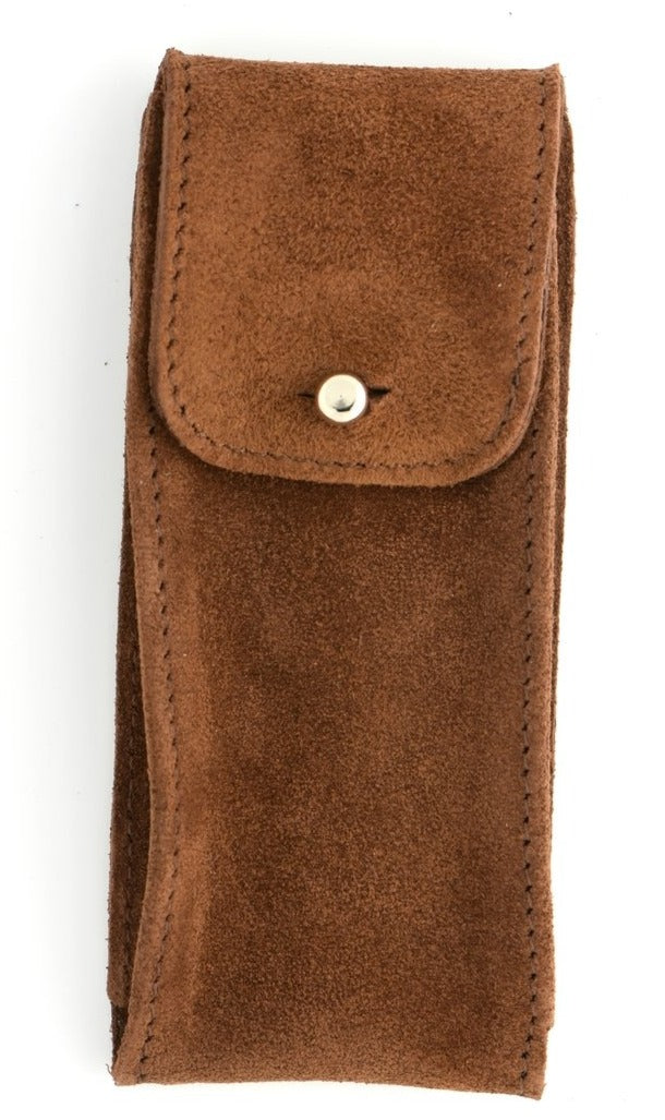 Suede Leather Watch Pouch in Brown