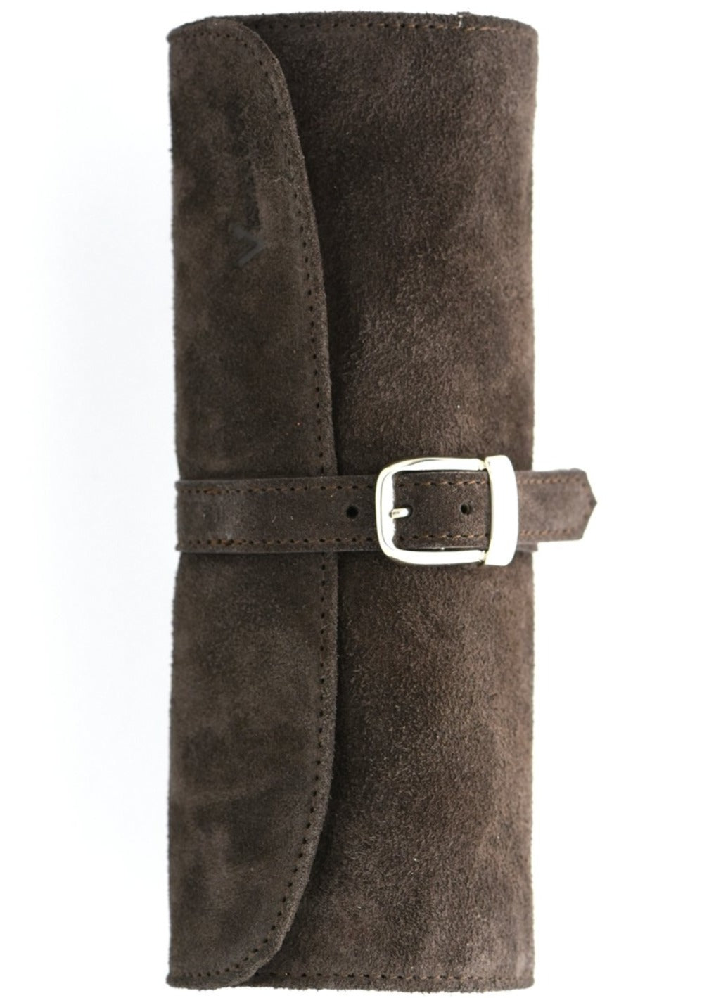 Suede Leather Watch Travel Tube in Seal Brown
