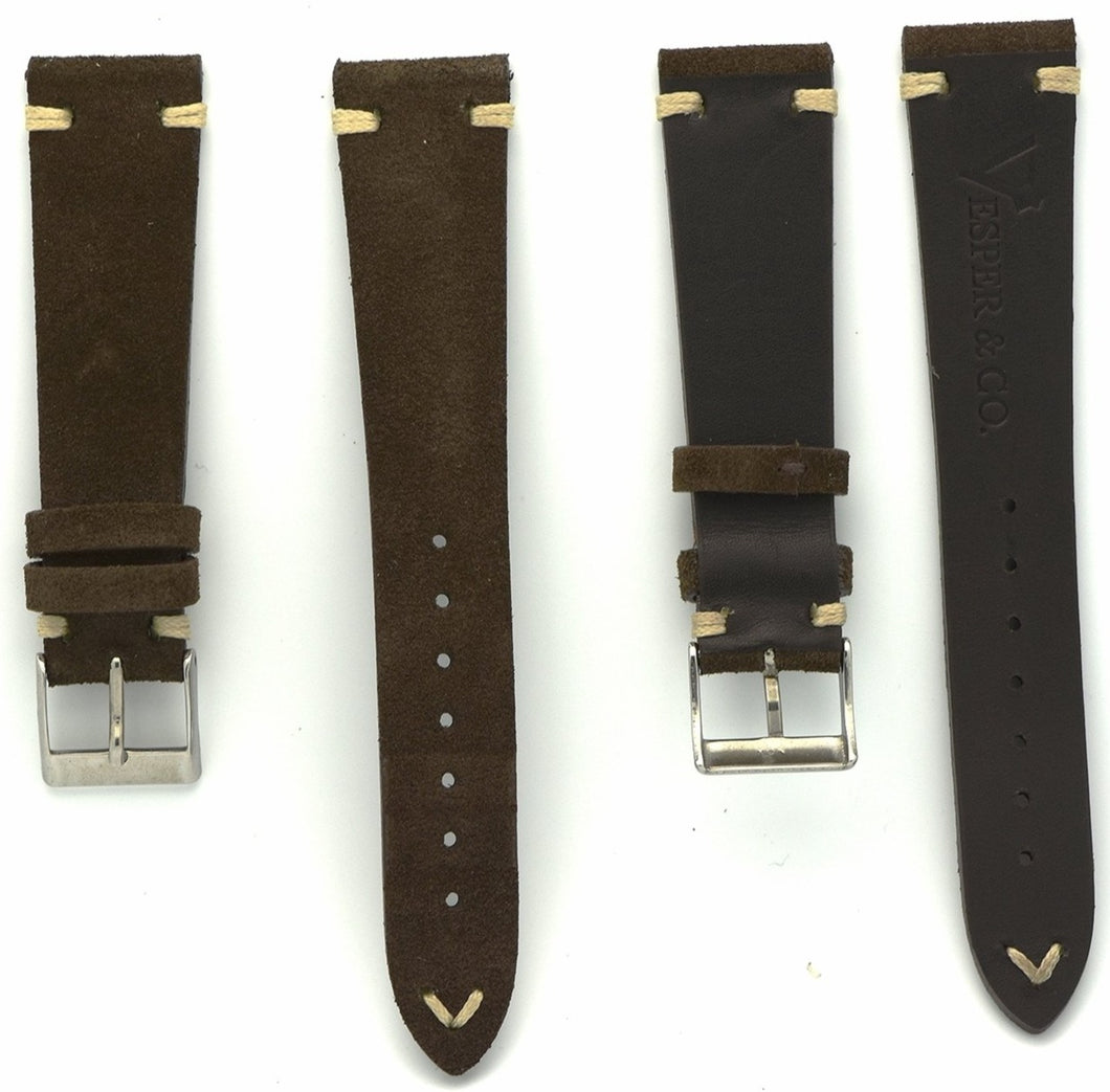 Suede Leather Watch Strap in Dark Brown