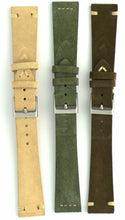 Load image into Gallery viewer, Suede Leather Watch Strap in Military Green