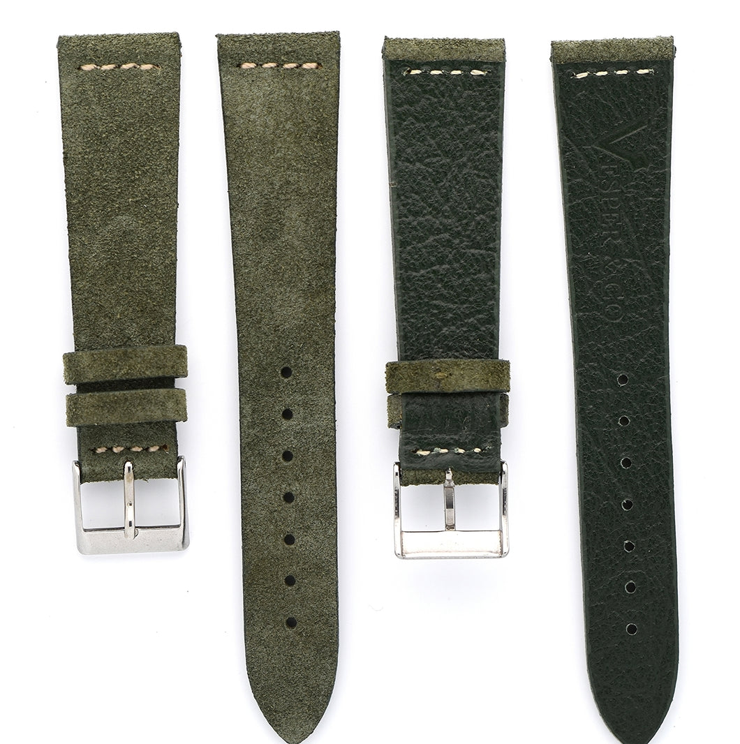 Suede Leather Watch Strap in Military Green