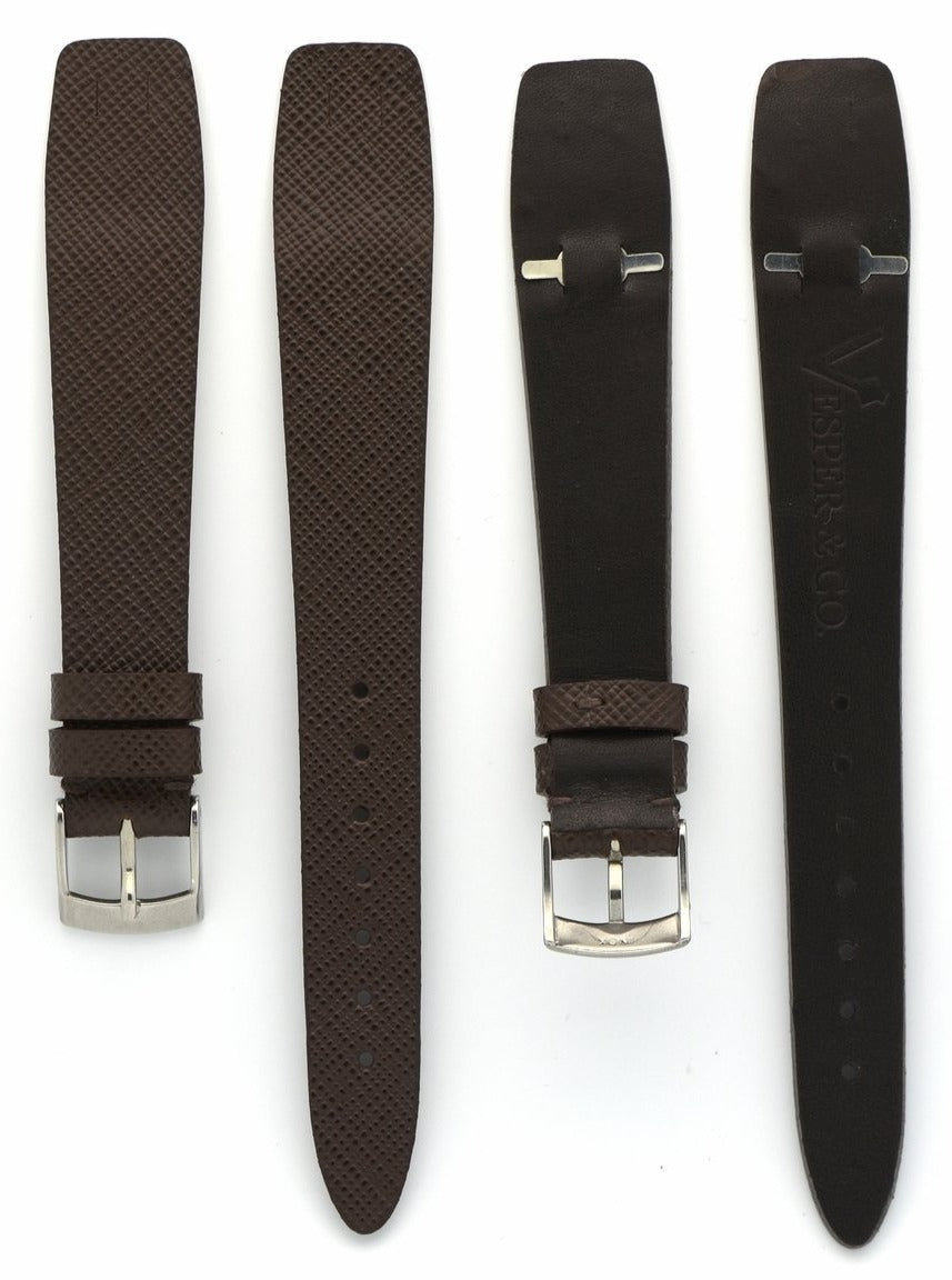 Saffiano Leather Watch Straps with Open End in Seal Brown