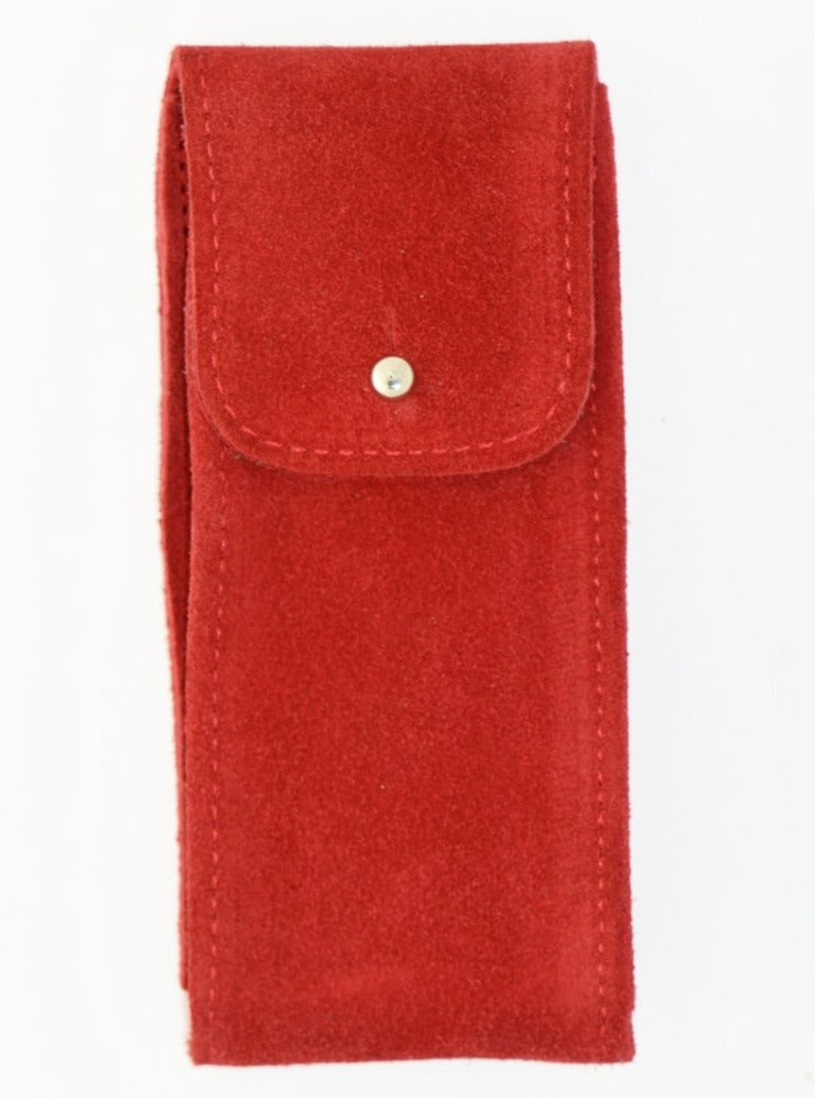 Suede Leather Watch Pouch in Cherry Red