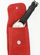 Load image into Gallery viewer, Suede Leather Watch Pouch in Cherry Red