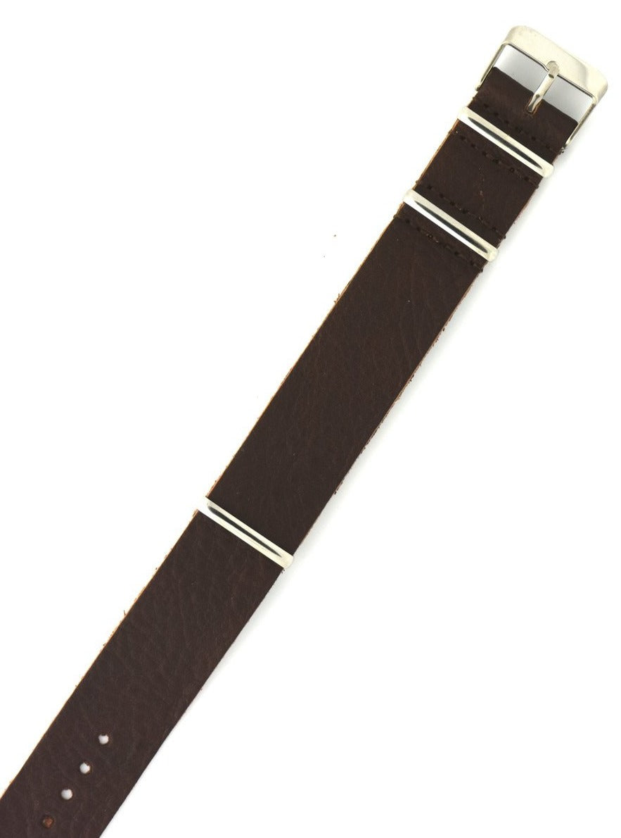 Vintage Bullhide Leather NATO Watch Strap in Chocolate