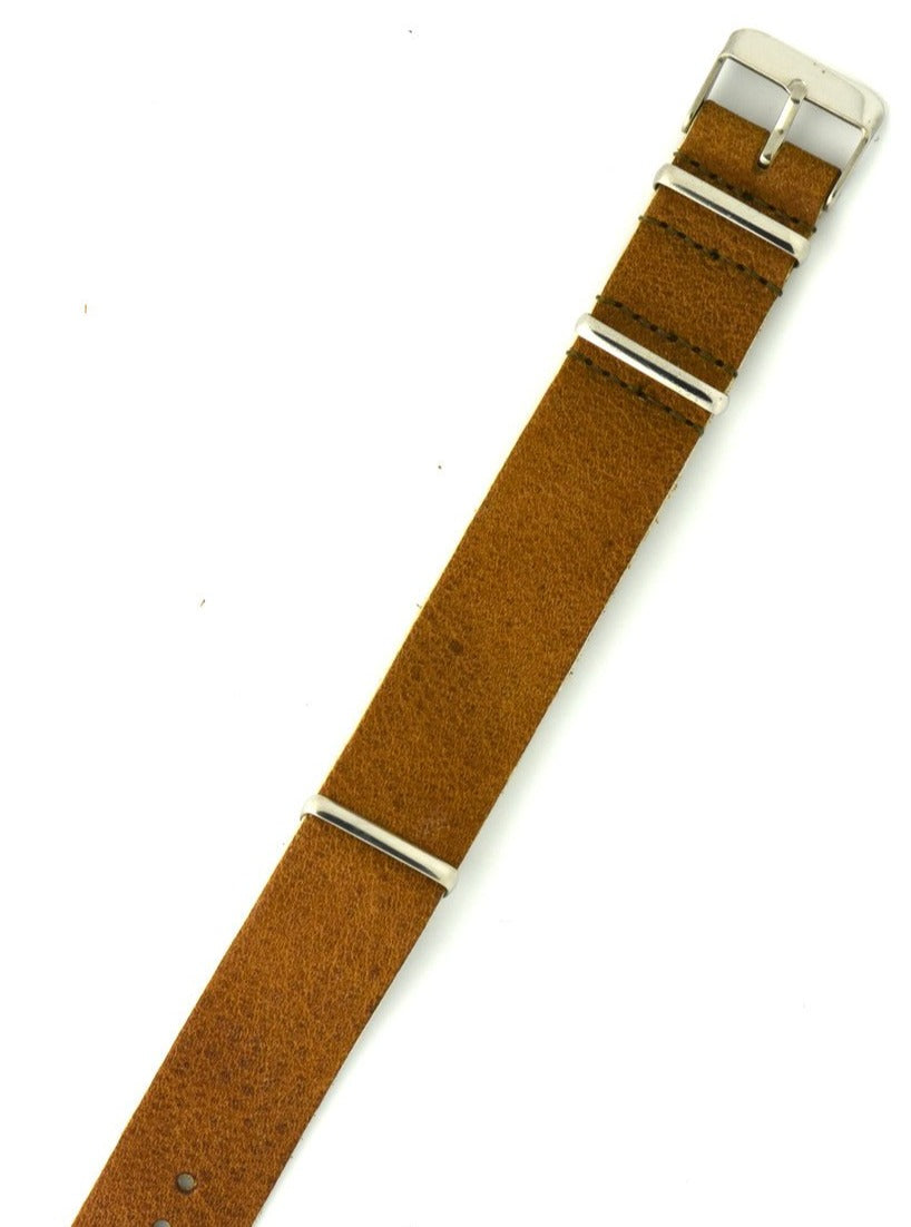 Vintage Bullhide Leather NATO Watch Strap in Natural Brown