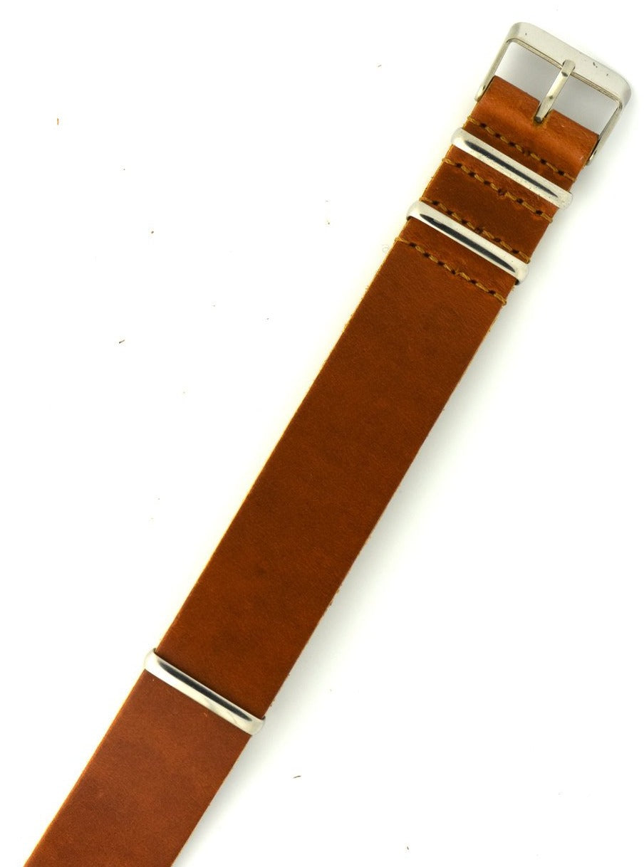 Vintage Chromexcel Leather NATO Watch Strap in Cognac