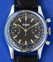 "Load image into Gallery viewer, Gallet Steel Chronograph wristwatch, Swiss, ""Chronograph."" Made in the 1960s. Fine, stainless steel wristwatch with round button chronograph, registers, telemeter and tachometer scales."