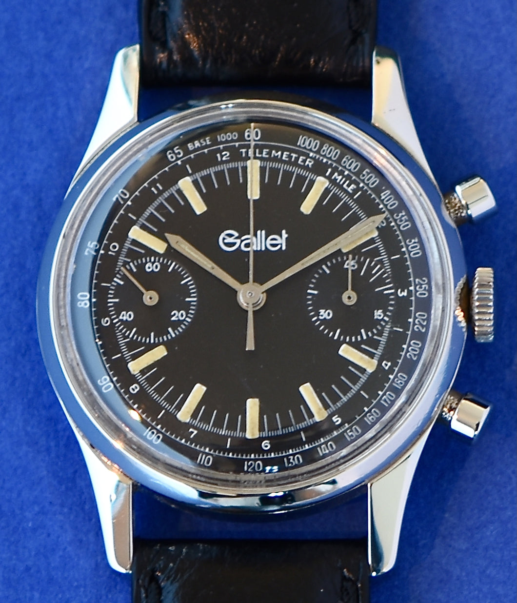 Gallet Steel Chronograph wristwatch, Swiss,