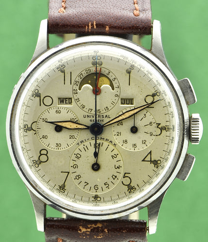 Universal Genève Tri-Compax, Ref. 22279, Steel.  Made in 1940s. Fine, manual-winding, stainless steel wristwatch with square button chronograph, registers, tachymeter, triple date and moon phases.