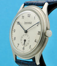 "Load image into Gallery viewer, Eberhard ""stepped bezel"", made in the 1950s. Fine and rare, stainless steel wristwatch."