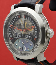 "Load image into Gallery viewer, Pierre Kunz ""Spirit of Challenge""  double retrograde with moon phase wristwatch, automatic, water- resistant, titanium wristwatch with retrograde minute and hour, moon phases and a titanium Pierre Kunz buckle."