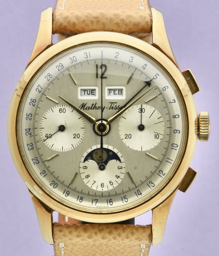 Mathey-Tissot, Triple Calendar Chronograph, Made in the 1970s. Fine, manual-winding, 18 karat yellow gold wristwatch with square button chronograph, registers,  triple date and moon phases.