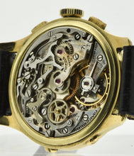 Load image into Gallery viewer, Movement: Valjoux 72, gilt brass, 17 jewels, straight-line lever escapement, monometallic balance with screws, blued steel over-coiled balance spring, index regulator, signed Minerva.