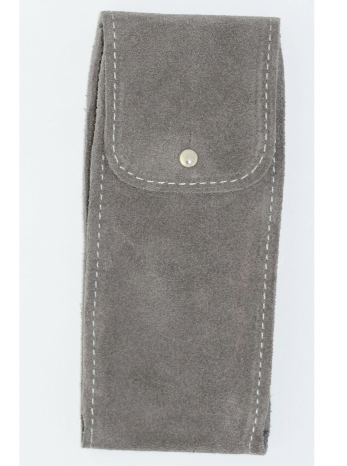 Suede Leather Watch Pouch in Light Grey