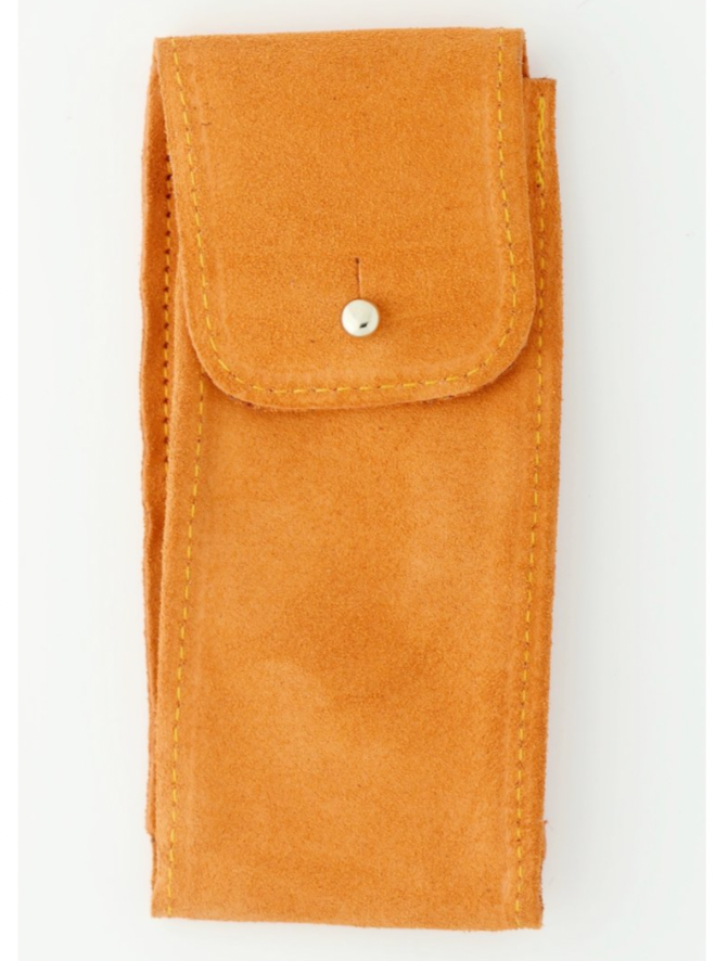 Suede Leather Watch Pouch in Turmeric