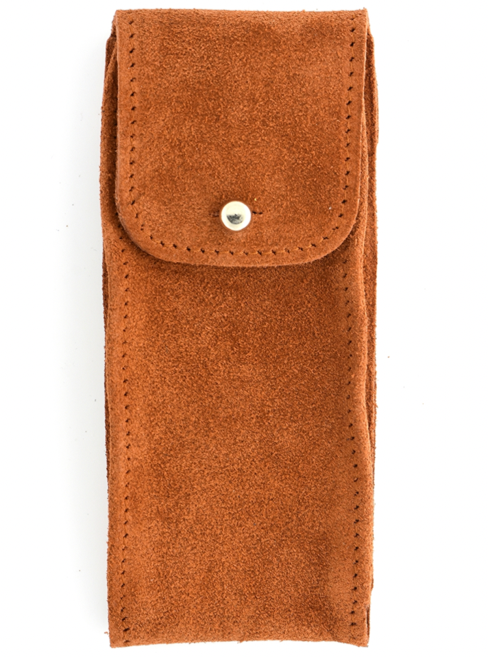 Suede Leather Watch Pouch in Tobacco