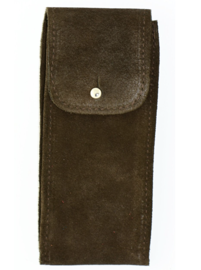 Suede Leather Watch Pouch in Chocolate