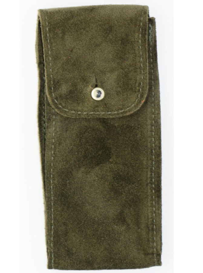 Suede Leather Watch Pouch in Moss