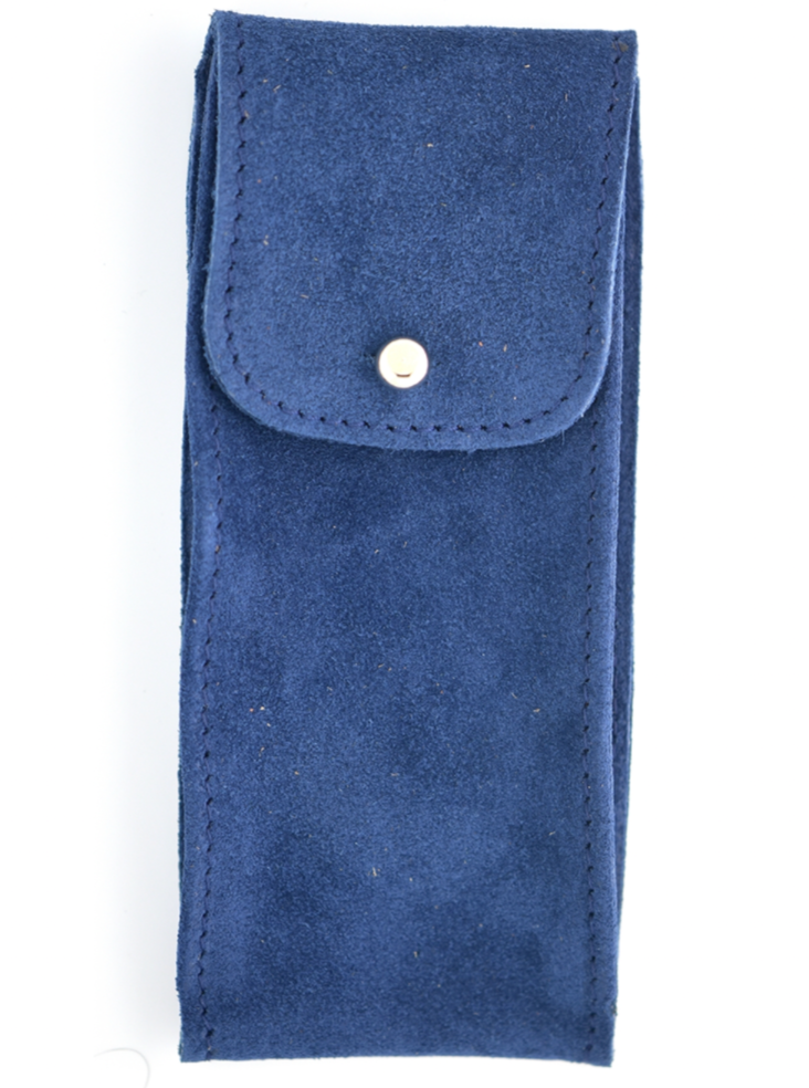 Suede Leather Watch Pouch in Marine Blue