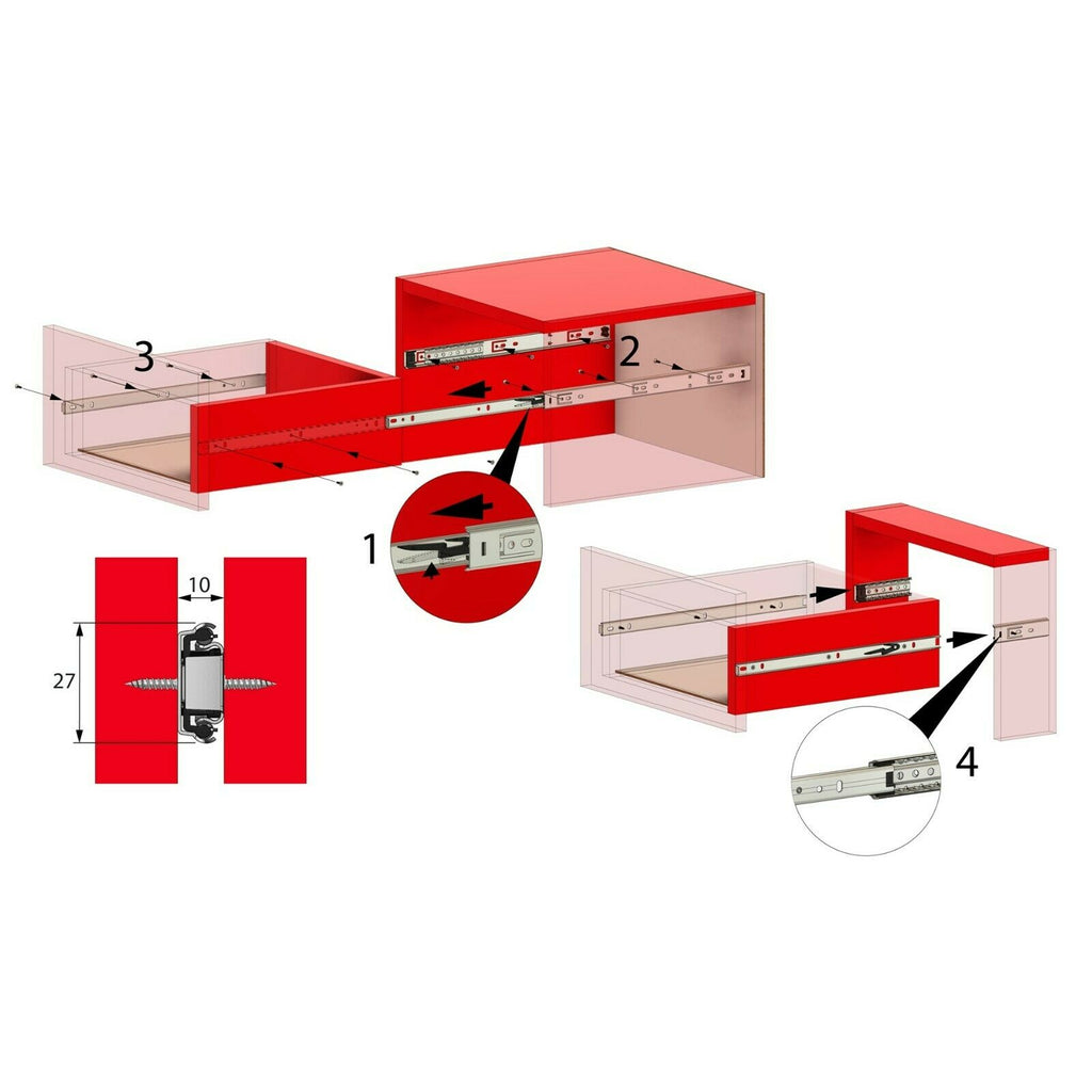 14 inch drawer slides ball bearing H27 (right and left side)