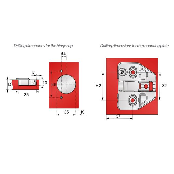 3D Soft-Close Hinge, H0 Mounting Plate with EURO Screws, Overlay Doors