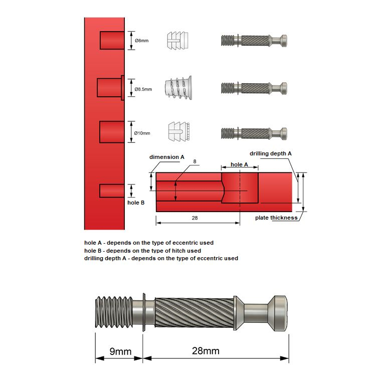 Cam Dowel 1-1/8 inch with M6 Screw-Thread - 1000 pcs