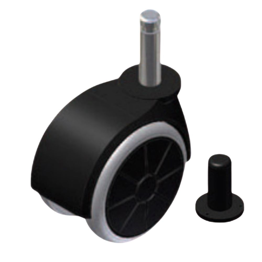 Furniture rubber swivel wheel with mounting pin 5/16 inch and sleeve - Ø1-9/16 inch
