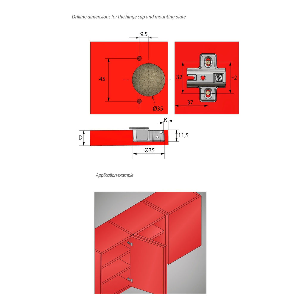 Hinge, H0 Mounting Plate with EURO Screws, Twin Doors