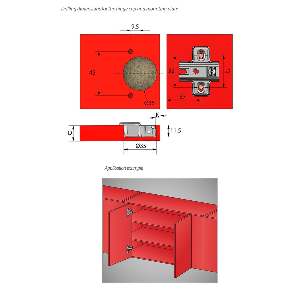 Hinge, H2 Mounting Plate with EURO Screws, Parallel Doors