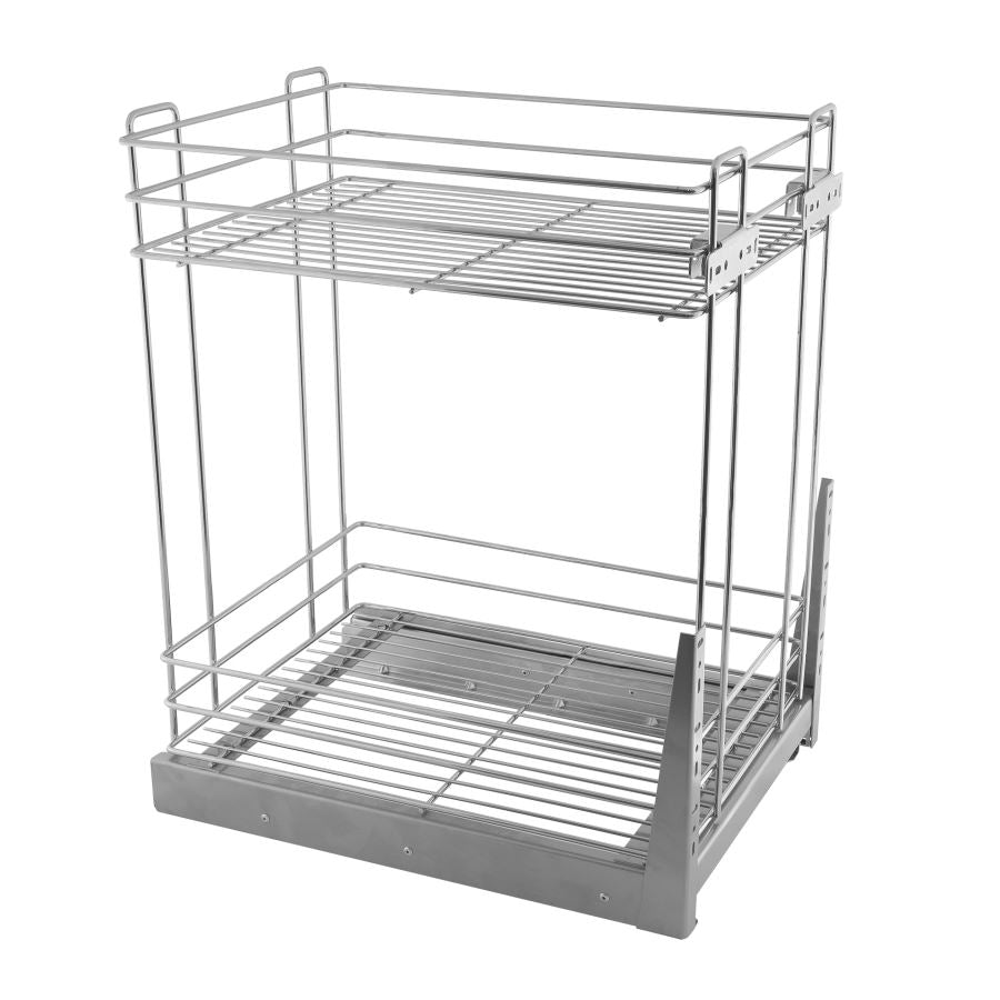 Pull Out Storage Baskets 15-3/4 inch Soft-Close Mini Cargo - 2 Shelves - Chrome