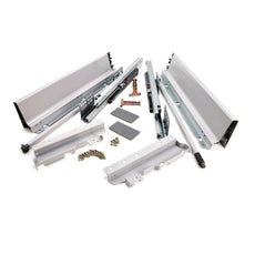 Soft-Close Drawer System, HIGH, H: 185mm, Silver