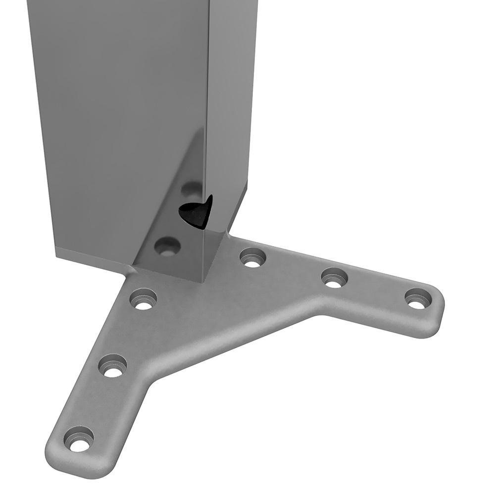 Square Furniture Leg 710mm, Chrome, ZnAl Mounting Plate