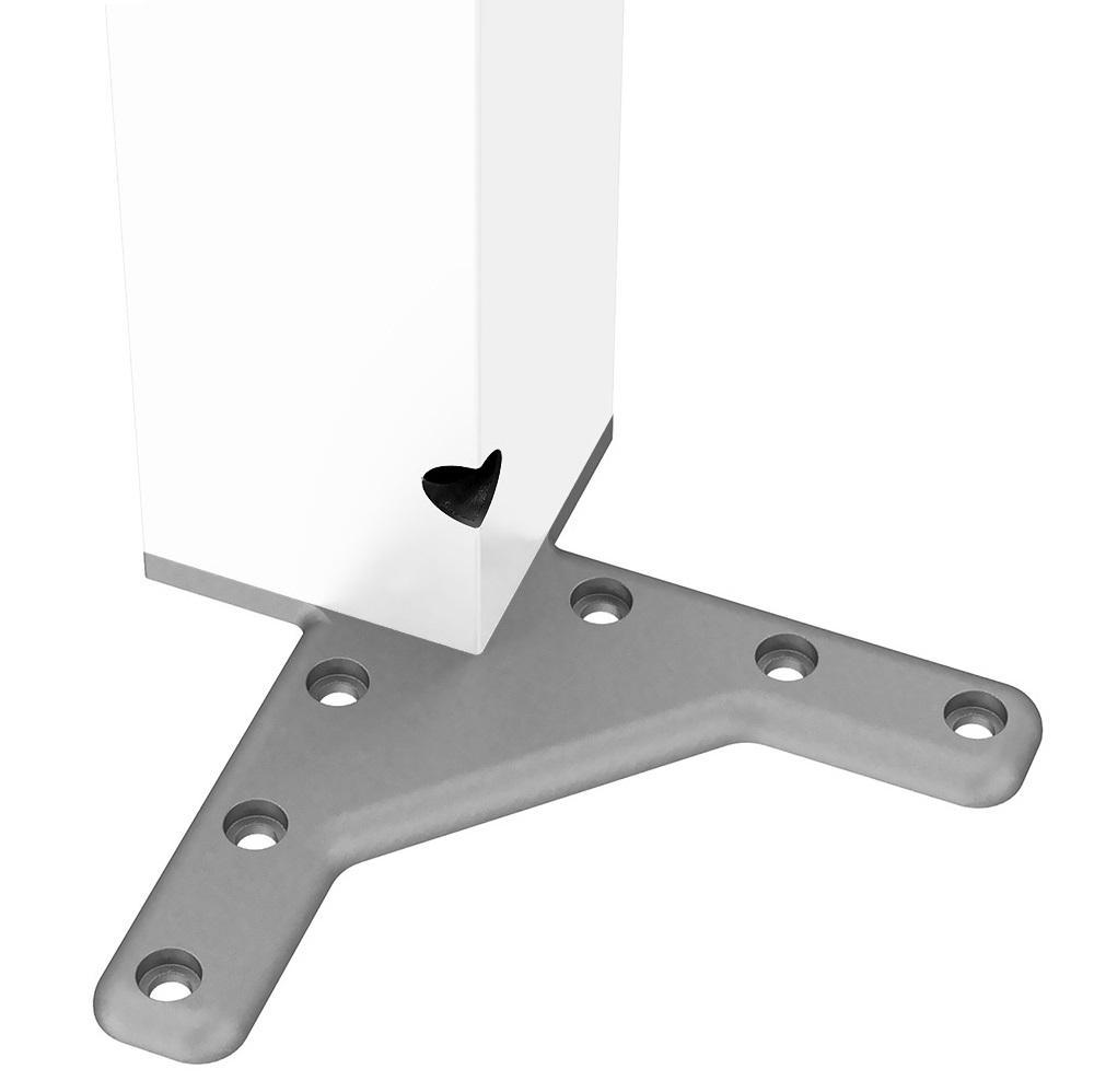 Square Furniture Leg 710mm, White, ZnAl Mounting Plate