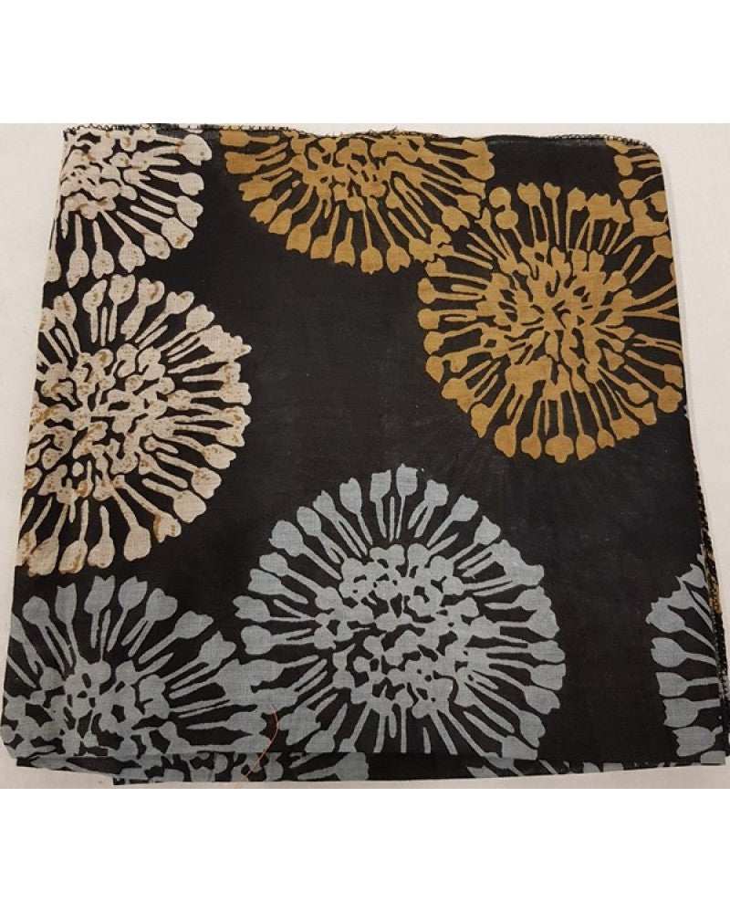 Black Dandelion Headscarf