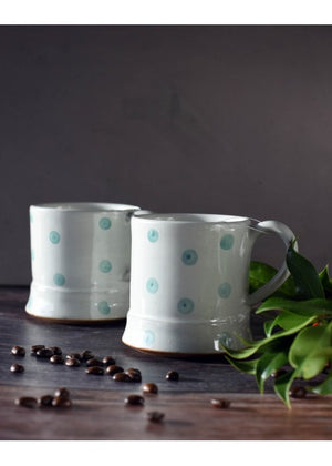 Load image into Gallery viewer, Set of 2 Turq Spot Ceramic Mugs