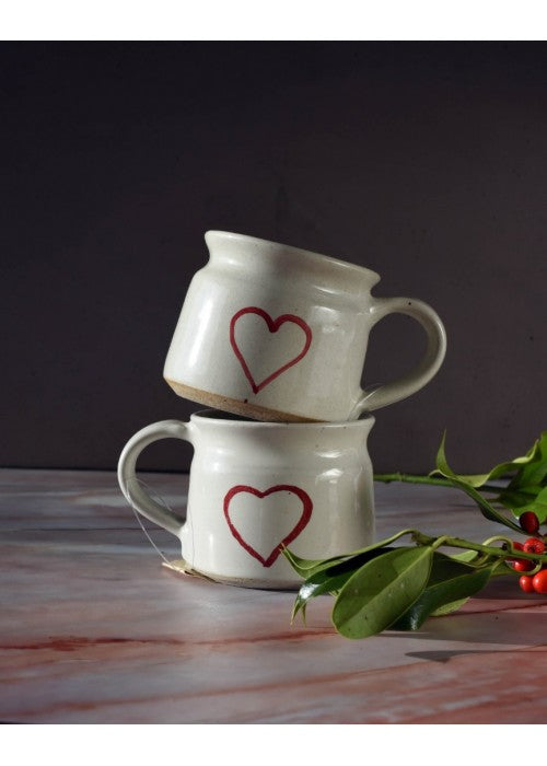 Load image into Gallery viewer, Set of 2 Red Heart Ceramic Mugs