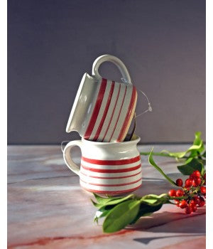 Load image into Gallery viewer, Set of 2 Red stripe Ceramic Mugs