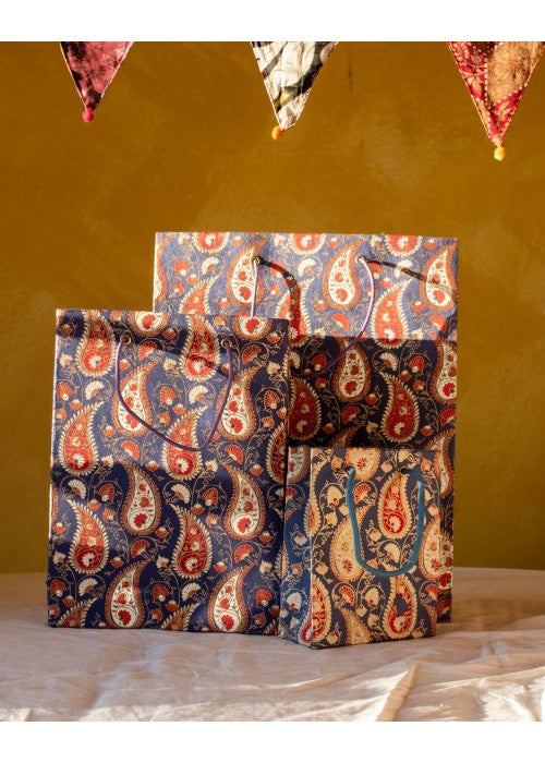 Blue Paisley Gift Bag Set of 3