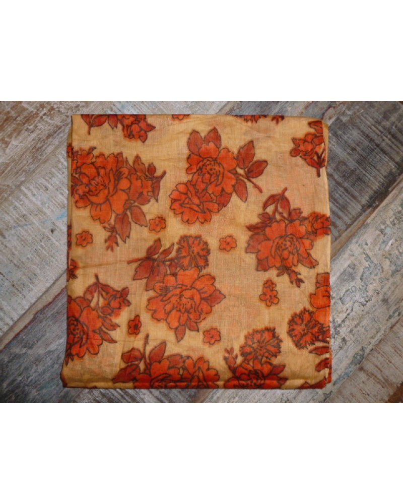 Orange Floral Patterned Headscarf