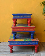 Colourful hand painted bajot table