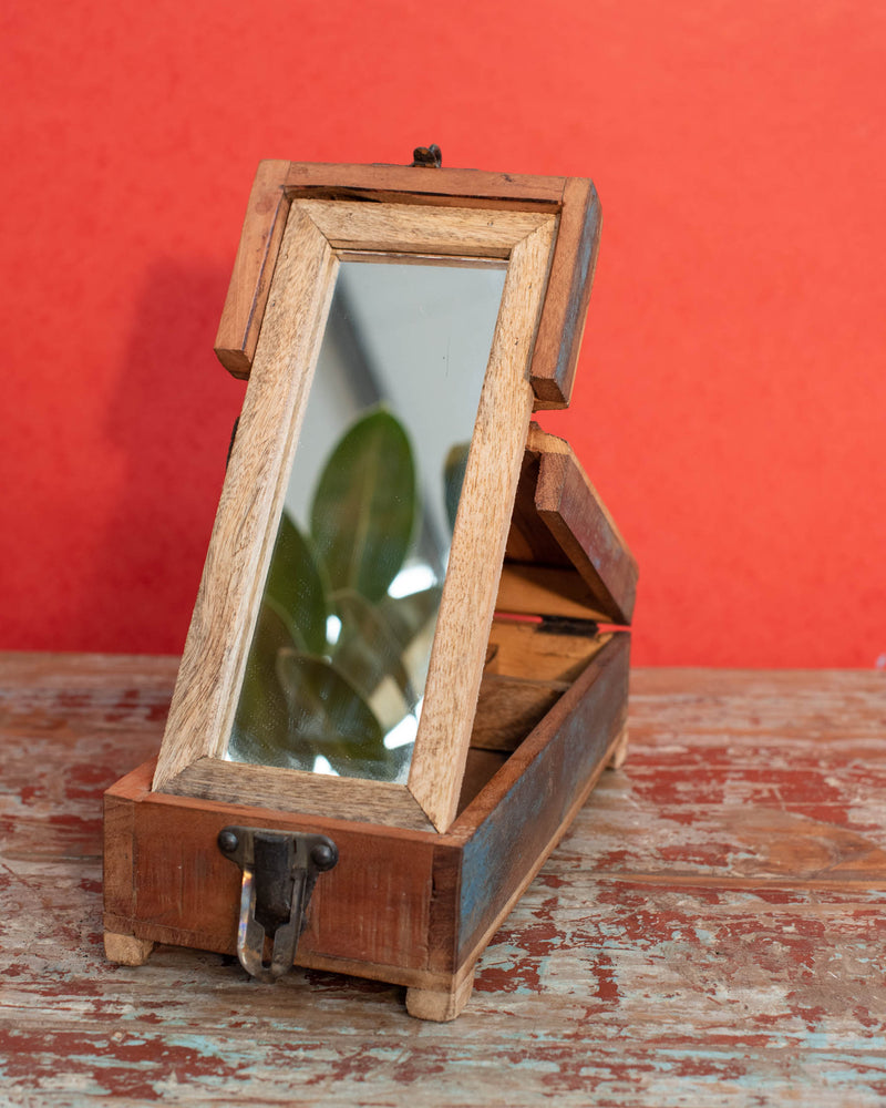 A Jewellery Box with Fold-Away Mirror