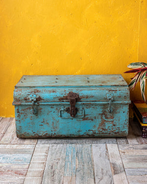 Distressed Blue Tin Chest - 2